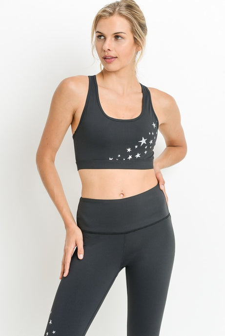 Black/White Star Sports Bra