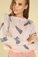 Cropped Lipstick Print Sweater