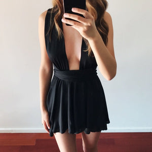 *STOCK RUNNING LOW* Plunging Halter Criss Cross Back Romper