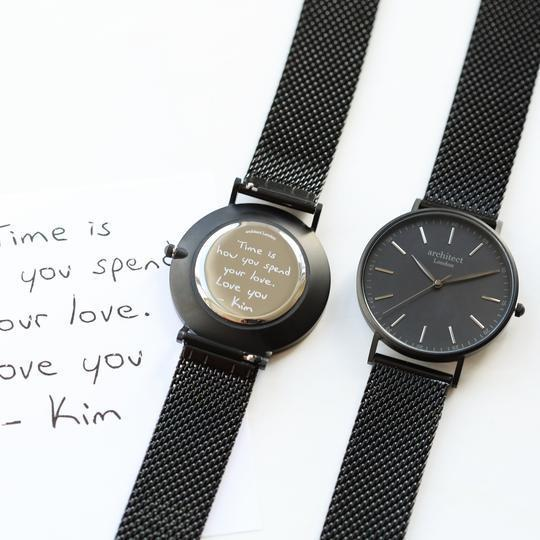 Handwriting Engraving - Men's Minimalist Watch + Pitch Black Mesh Strap -  Handwrite Your Message And Get It Engraved On The Back Of The Watch