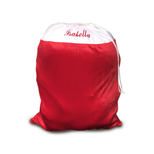 Personalised Santa Sack - Red And White With A Personalised Name In Red Text On The White Background