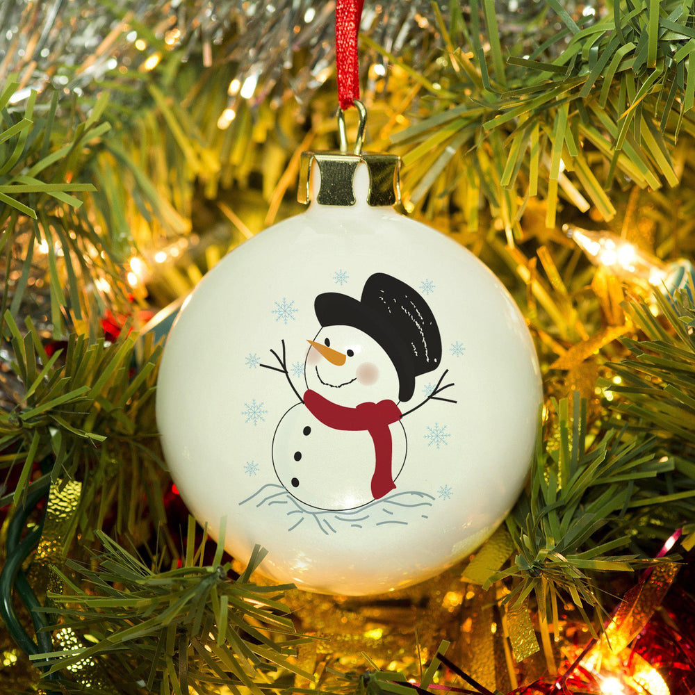 Traditional Snowman Smiling With A Top Hat And ScarfBauble
