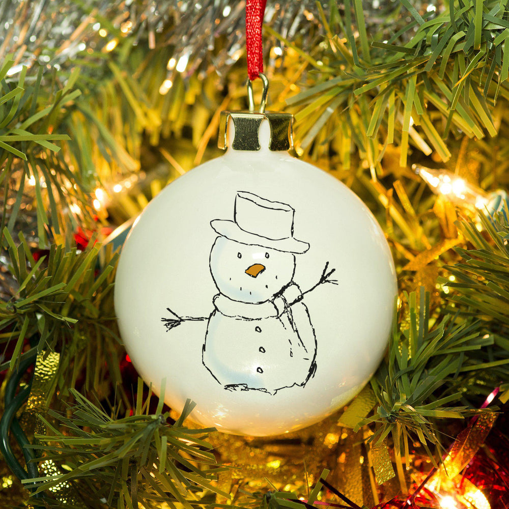 Let It Snow Bauble - Features A Happy Snowman Wearing A Hat