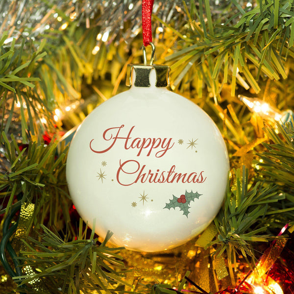 Name Christmas Bauble - This holly adorned bauble includes a name of your choice within the design on the reverse