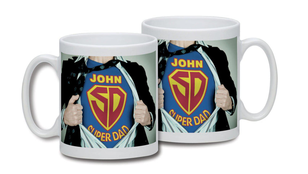 Super Dad Mug - Picture Of Super Dad Bursting His Shirt Open To Reveal The Name JOHN Above The SD Badge And Text Super Dad Below