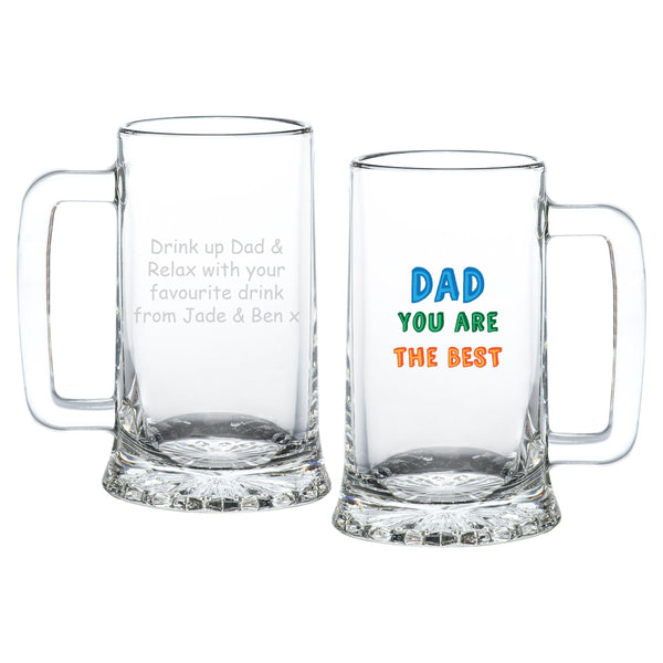 Dad You Are…. Stern Pint Glass - Shows Front & Rear Of Glass