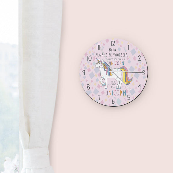 Personalised Always Be A Unicorn Round Clock
