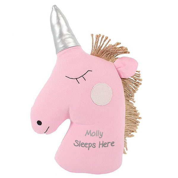 Pink Unicorn Doorstop Personalised With Recipients Name Followed By Sleeps Here Text