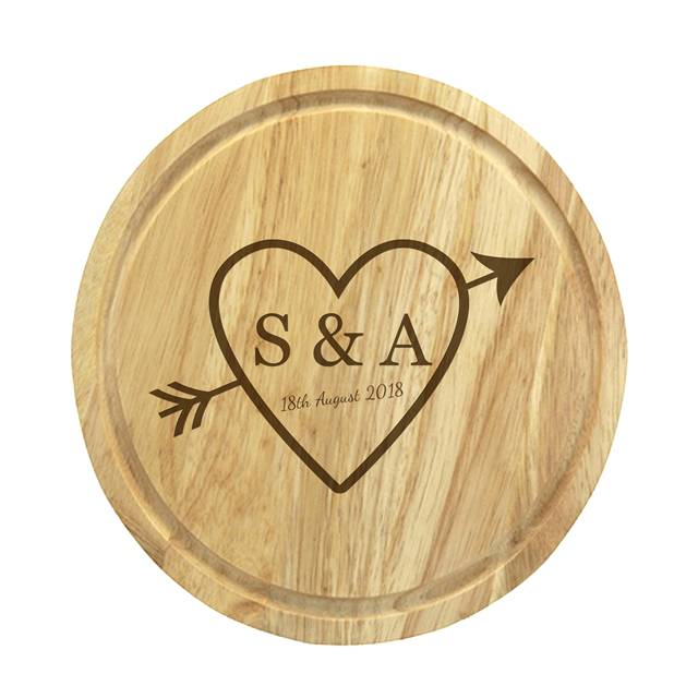 Sketch Heart Cheese Board & Knives - Sketch Heart Cheese Board & Knives - A Heart In The Center With An Arrow Through It Reading S&A 18th August 2018