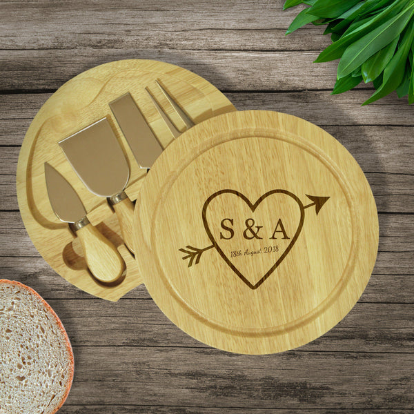 Sketch Heart Cheese Board & Knives - Board Is Swiveled Open To Reveal The Knives Underneath The Board