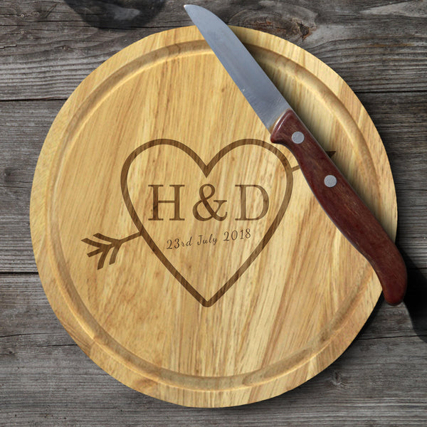 Sketch Heart Cheese Board & Knives - A Heart In The Center With An Arrow Through It Reading H&D 23rd July 2018