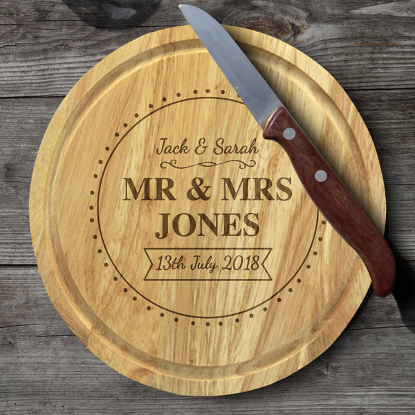 Brand New Mr & Mrs Cheese Board & Knives - Lid With Personalisation In The Centre