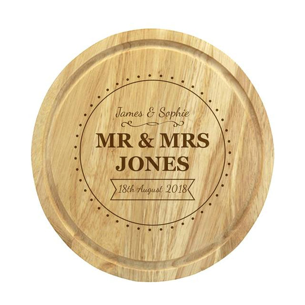Brand New Mr & Mrs Cheese Board & Knives - Personalised