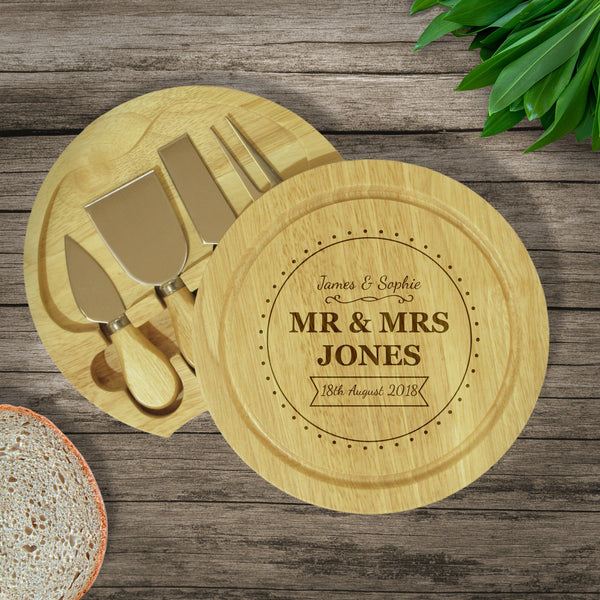 Brand New Mr & Mrs Cheese Board & Knives - Lid Open To Show The Knife Set