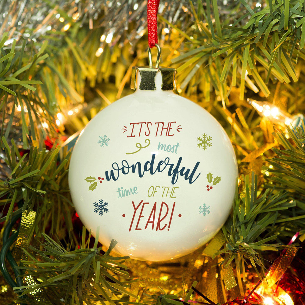 The Most Wonderful Time Of The Year Bauble - Text Written In Red, Sky Blue, Dark Blue And Green With Holy And Icicles