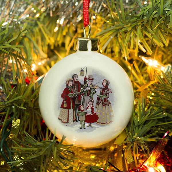 Traditional Carol Singers Holding A Lantern Bone China Bauble