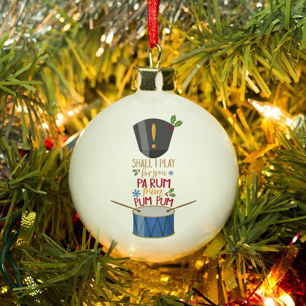Little Drummer Boy Bauble - Pa Rum Pum Pum Pum Song Text Between A Drum And Drummers Hat Which Resembles A Drummer Boy