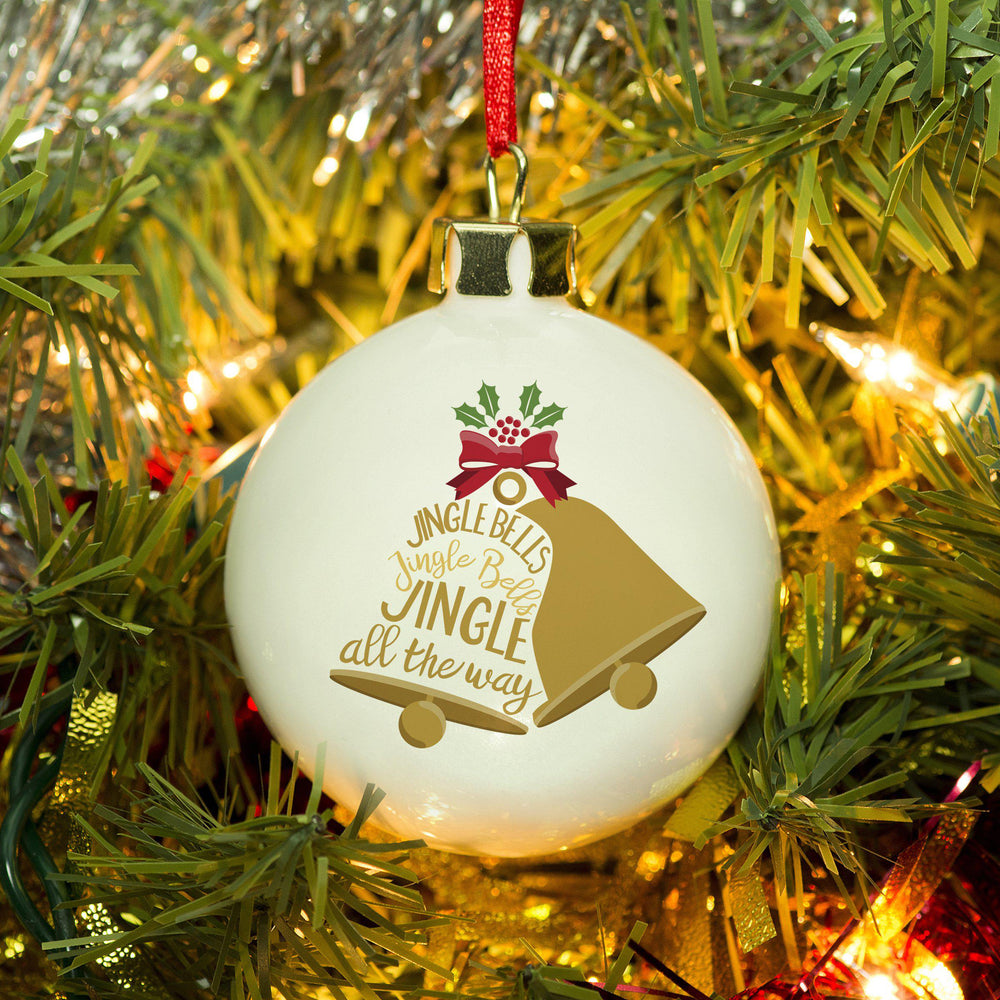 Jingle Bells Bauble, One White Bell With Jingle Bells Text Shaped As The Bell And One Gold Bell