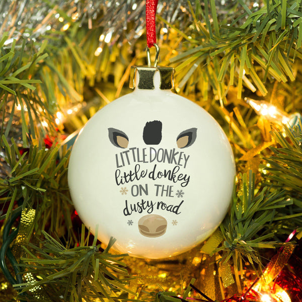 Little Donkey Bauble - Features Little Donkey Text Between A Donkeys Ears And Nose To Resemble A Donkey