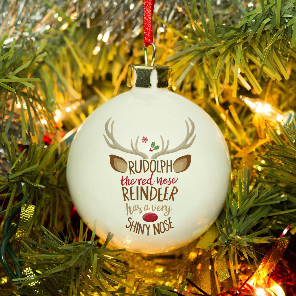Rudolph the Red-Nosed Reindeer Bauble - Rudolph The Red Nose Reindeer Text Is Shaped Like A Reindeer Face With Antlers, Ears And A Shiny Red Nose