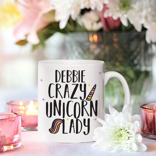 Crazy Unicorn Lady Sublimation Mug - DEBBIE Personalised Above Fixed Text
