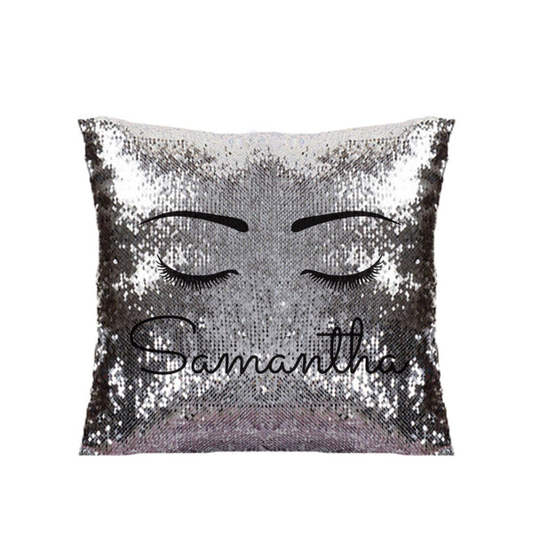 Eyelash Black Sequin Cushion - Personalised For Samantha