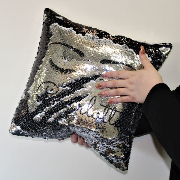 Eyelash Black Sequin Cushion -  Silver Sequins Changing To Black Sequins