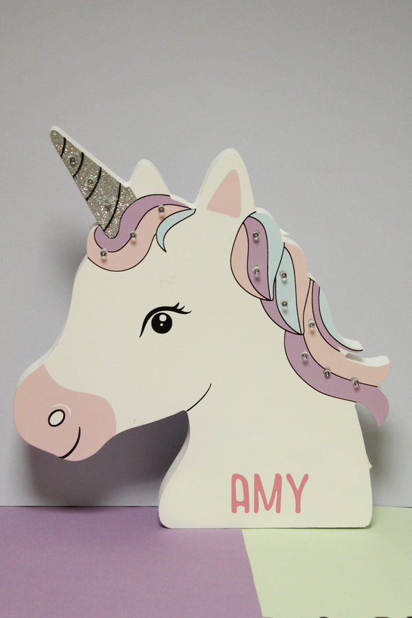 A Pretty White Unicorn With A Pink, Purple And Blue Mane LED Wall Light