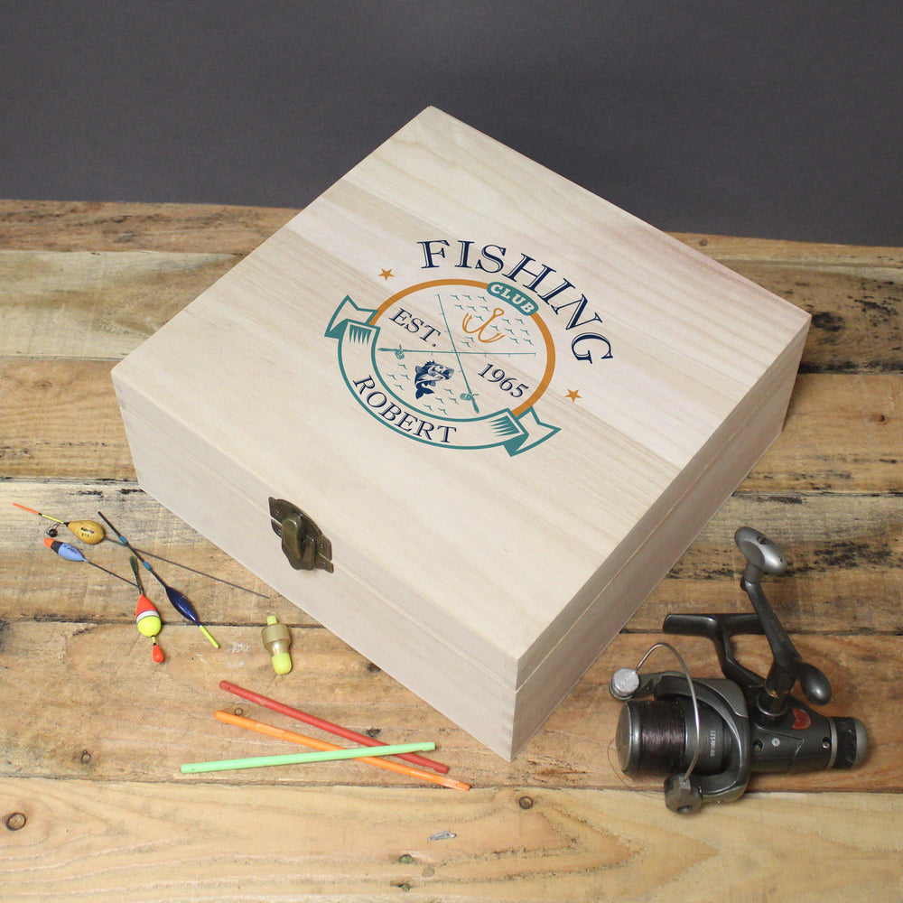 Fishing Club Wooden Storage Box