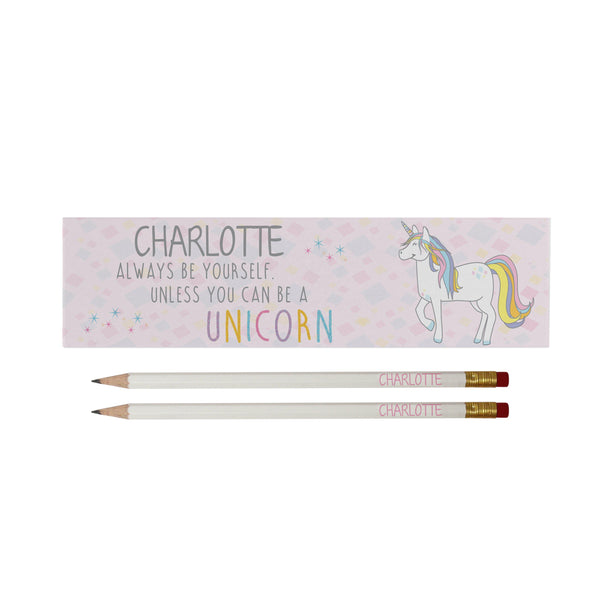Always Be A Unicorn White Pencils in Box - Featuring personalised box and pencils