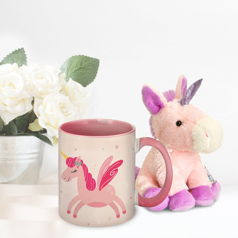 Magical Christmas Pink Mug & Unicorn Teddy