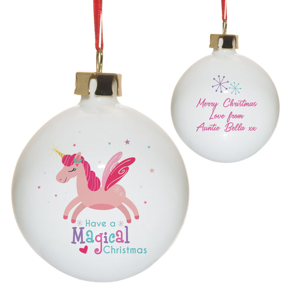 Magical Christmas Bauble - White Bauble With A Pink Unicorn On The Front And A Personal Pink Text Message On The Back