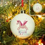 "Magical Christmas Bauble - Featuring A Magical Pink Unicorn Above The Text ""Have A Magical Christmas"""