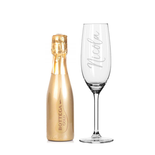 200ml Gold Bottega & Flute Set with personalised glass