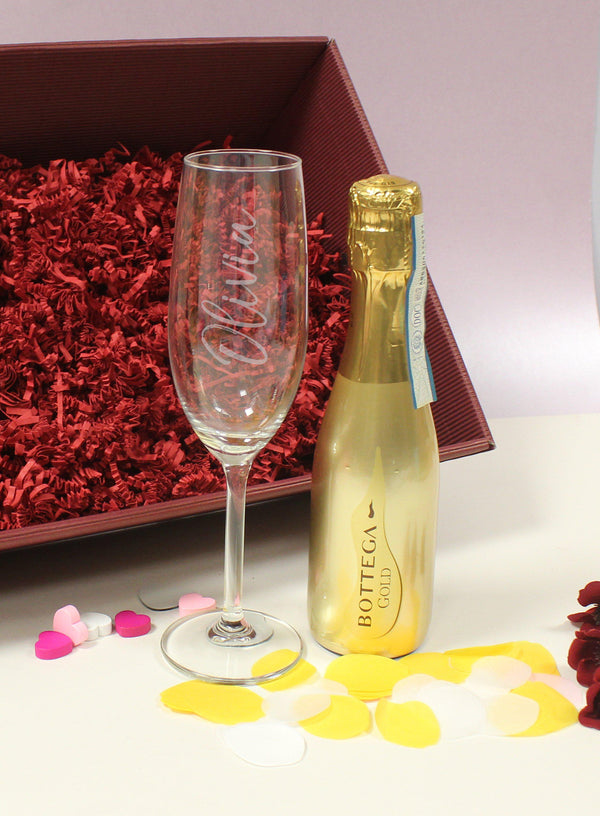 200ml Gold Bottega & Flute Set With petals scattered on the table