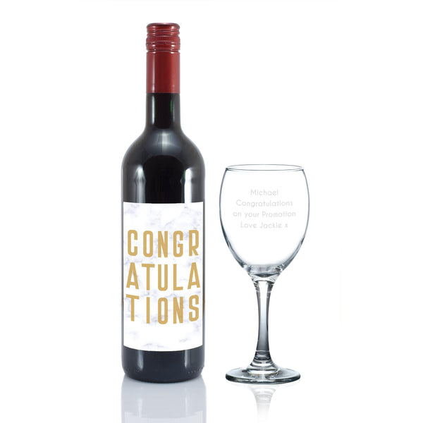 Congratulations Red Wine Gift Set - Personalised For Michael