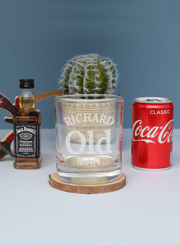 Old Man JD Gift Set - Tumbler Glass Reading Richard Old Man With A Miniature Jack Daniels One Side And A Coca Cola The Other