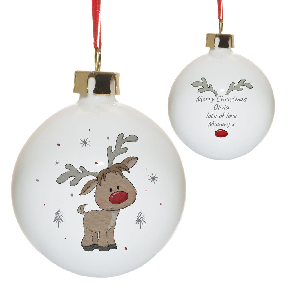 Little Reindeer Bauble - Rudolph On The Front And A Personal Message On The Back Inbetween Some Antlers And Rudolphs Shiny Red Nose