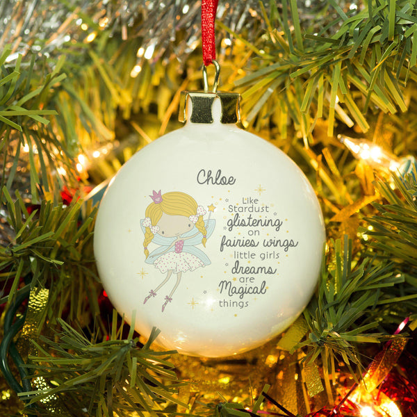 Personalised cute Fairy Princess Bauble