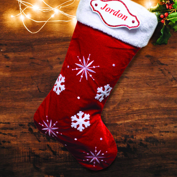 Red Snowflake Stocking with Personalised Nmae Plaque