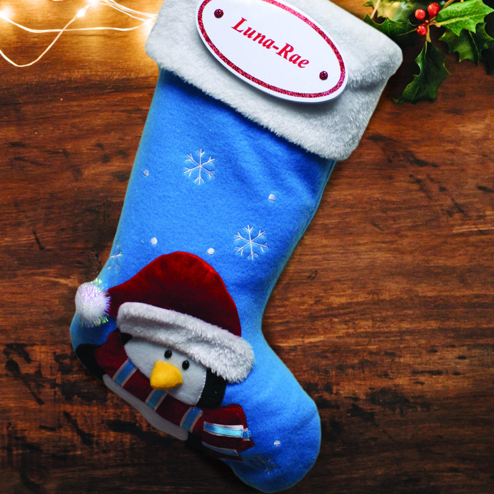 Blue Penguin Stocking with Personalised Plaque