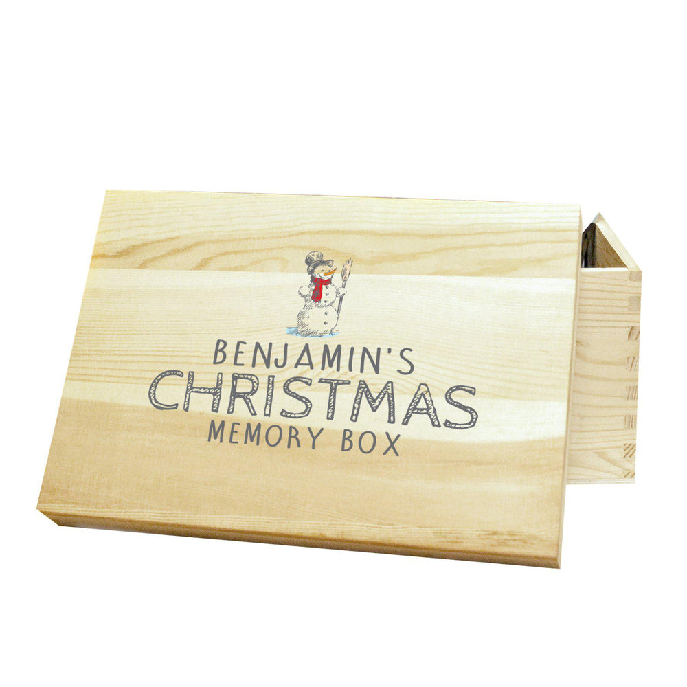 "Snowman Memory Box - A Pine Box That Features A Snowman Above The Text ""BENJAMIN'S CHRISTMAS MEMORY BOX"""