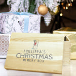 "Snowman Memory Box - A Pine Box That Features A Snowman Above The Text ""PHILLIPPA'S CHRISTMAS MEMORY BOX"""