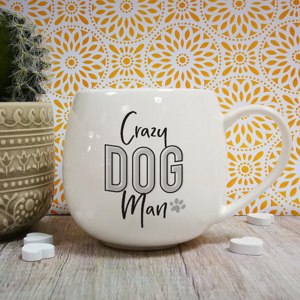 Crazy Dog Man Hug Mug - Personalise The Inside Lip With Any Name