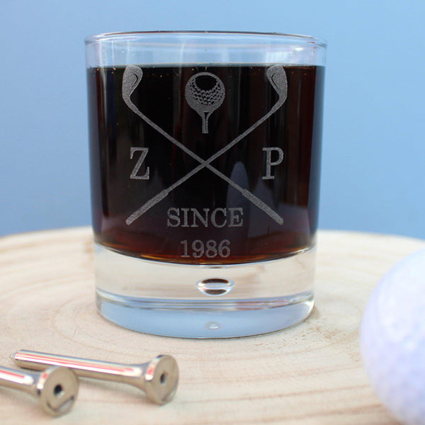 Golf Club Whisky Tumbler - Initials ZP Either Side Of Golf Clubs