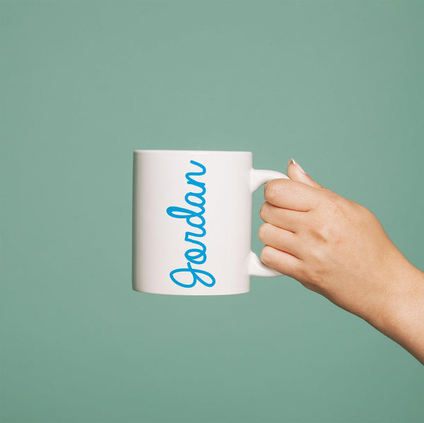 Coloured Name White Mug - Blue Jordan Text