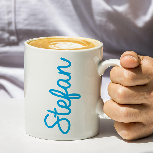 Coloured Name White Mug - Blue Stefan Text
