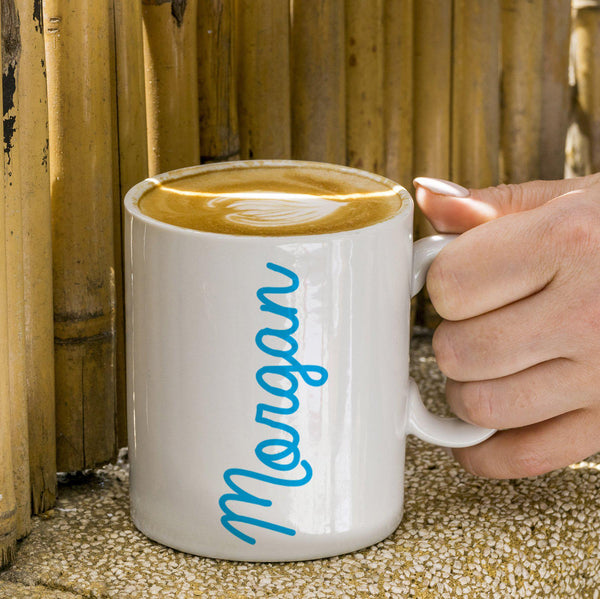 Coloured Name White Mug - Blue Morgan Text