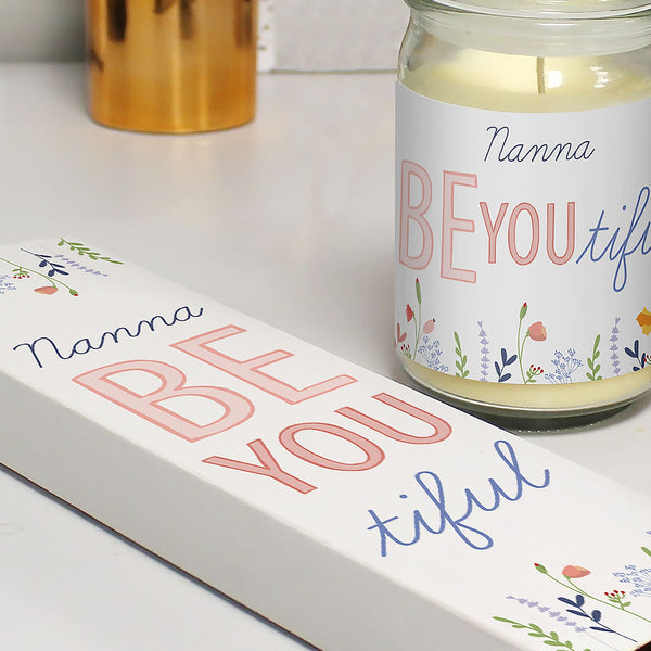 Be You Candle Jar & Truffles - Close Up Of  The BEyoutiful  Floral Design