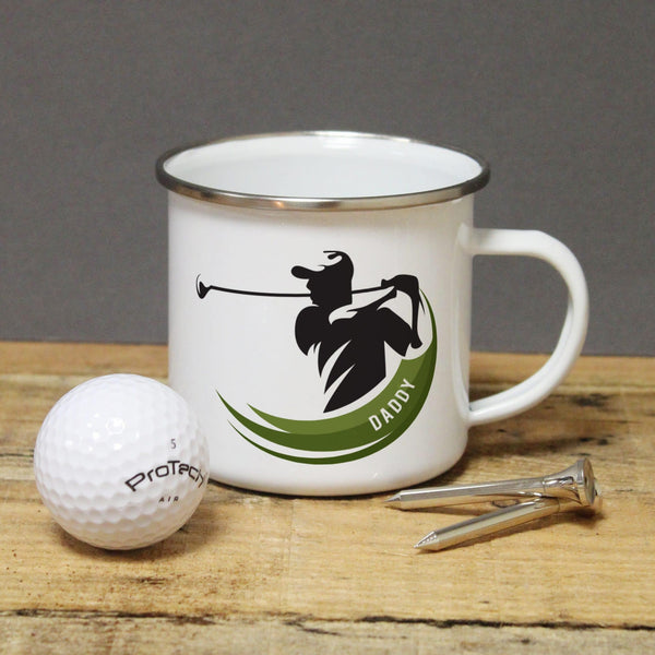 "Golf Player Enamel Mug Personalised With Text ""DADDY"""